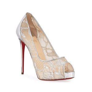 Christian louboutin very lace peep toe shoe NWB